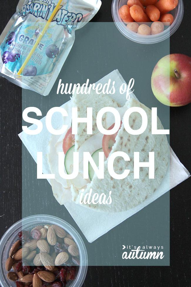 hundreds of school lunch ideas - easy, gluten & nut free, etc.