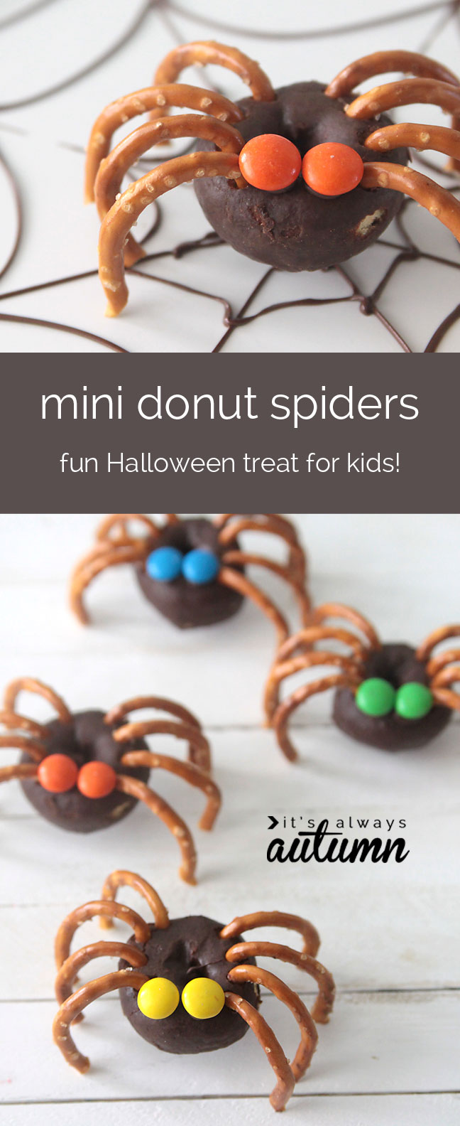 easy mini donut spiders - easy halloween treat kids can make - it's