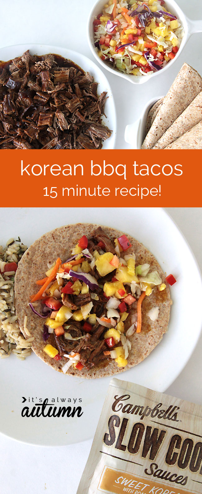 sweet korean bbq tacos are so easy to make in the slow cooker - they only take 15 minutes of prep time - and even the kids will love them!