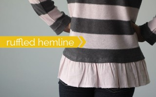 how to add a cute ruffled hem to a girl's sweater - easy sewing tutorial