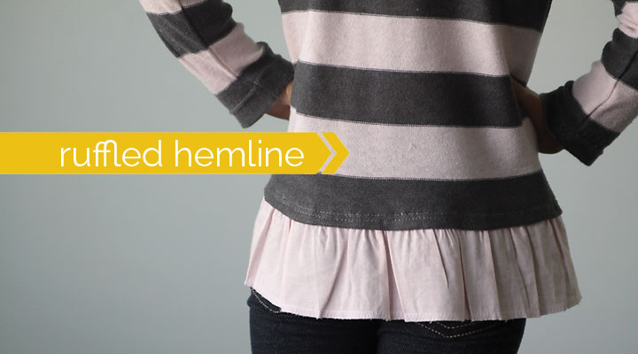 add a ruffled hem to a girl's sweater {easy sewing tutorial}