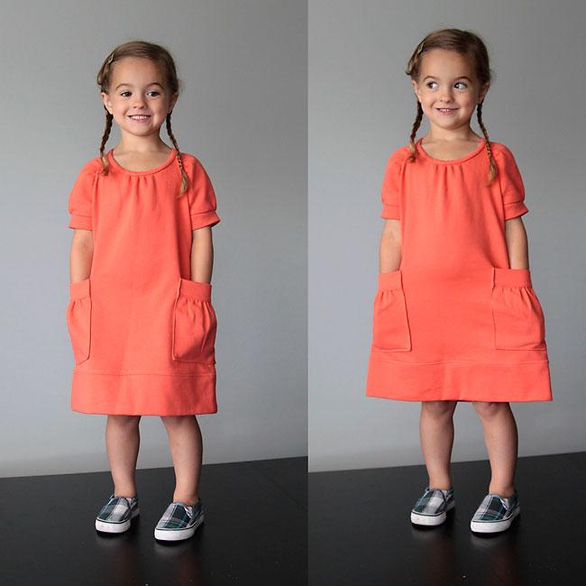 modify a raglan top pattern to sew this adorable girls sweatshirt dress