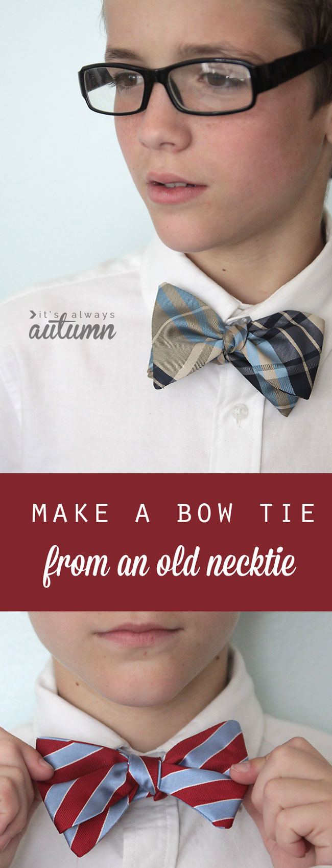Make a bow tie from an old necktie great teen boy gift its how to make a bow tie from a necktie grew pattern and sewing tutorial jeuxipadfo Images