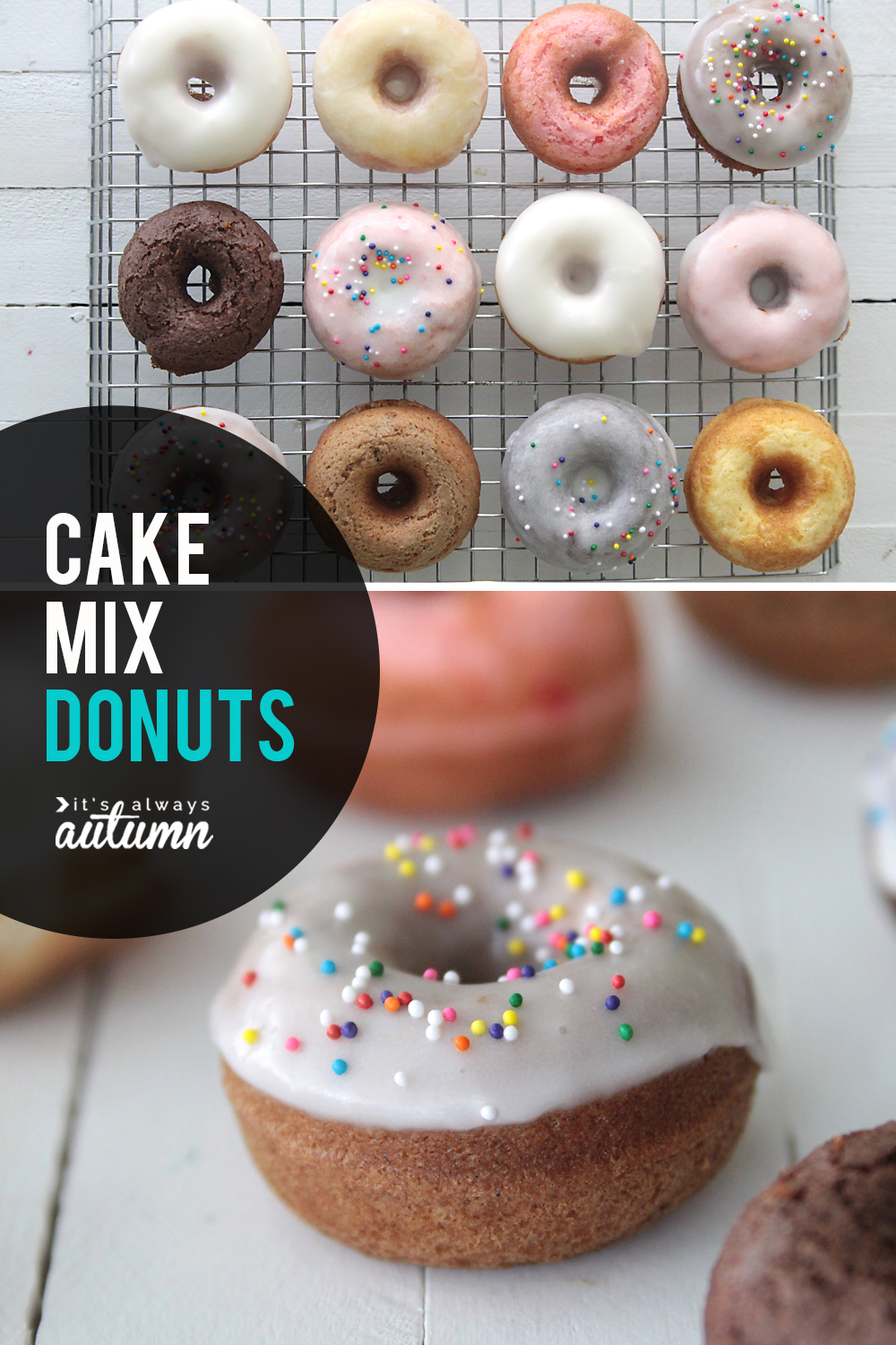 How to make cake mix donuts! This easy mini donut recipe is baked, not fried, and only takes 15 minutes start to finish.