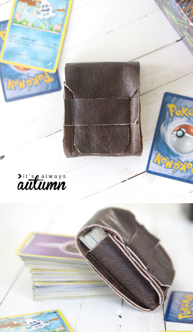 my boys would love this! make a DIY leather deck holder for Pokemon or Magic cards - great gift for tweens!