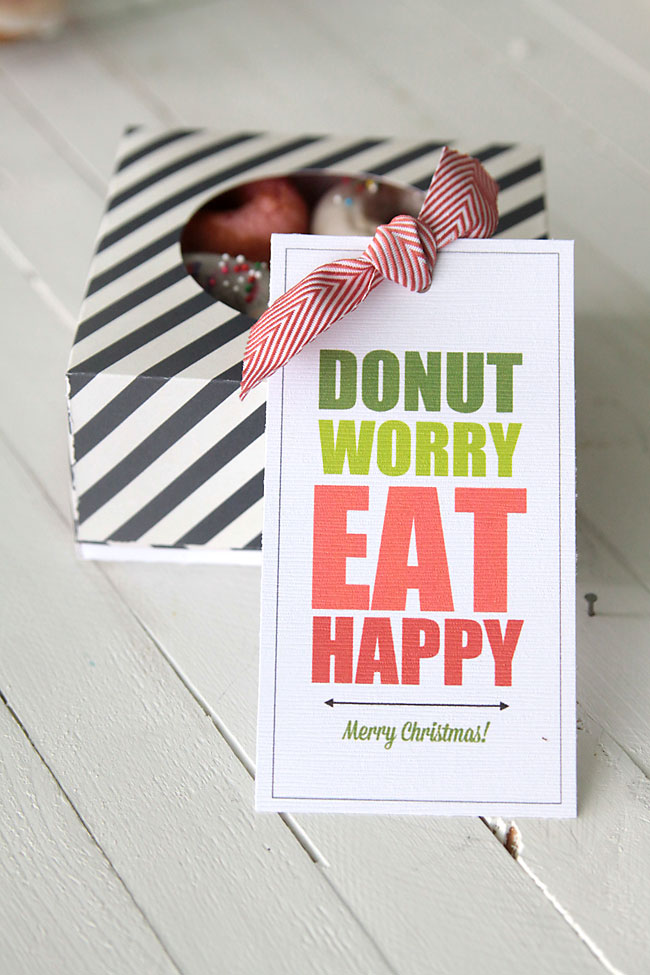 Quot Donut Worry Eat Happy Quot Free Printable Donut Gift Tags