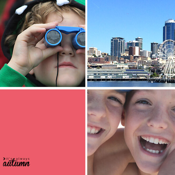 collage of kids laughing, boy with toy binoculars, cityscape