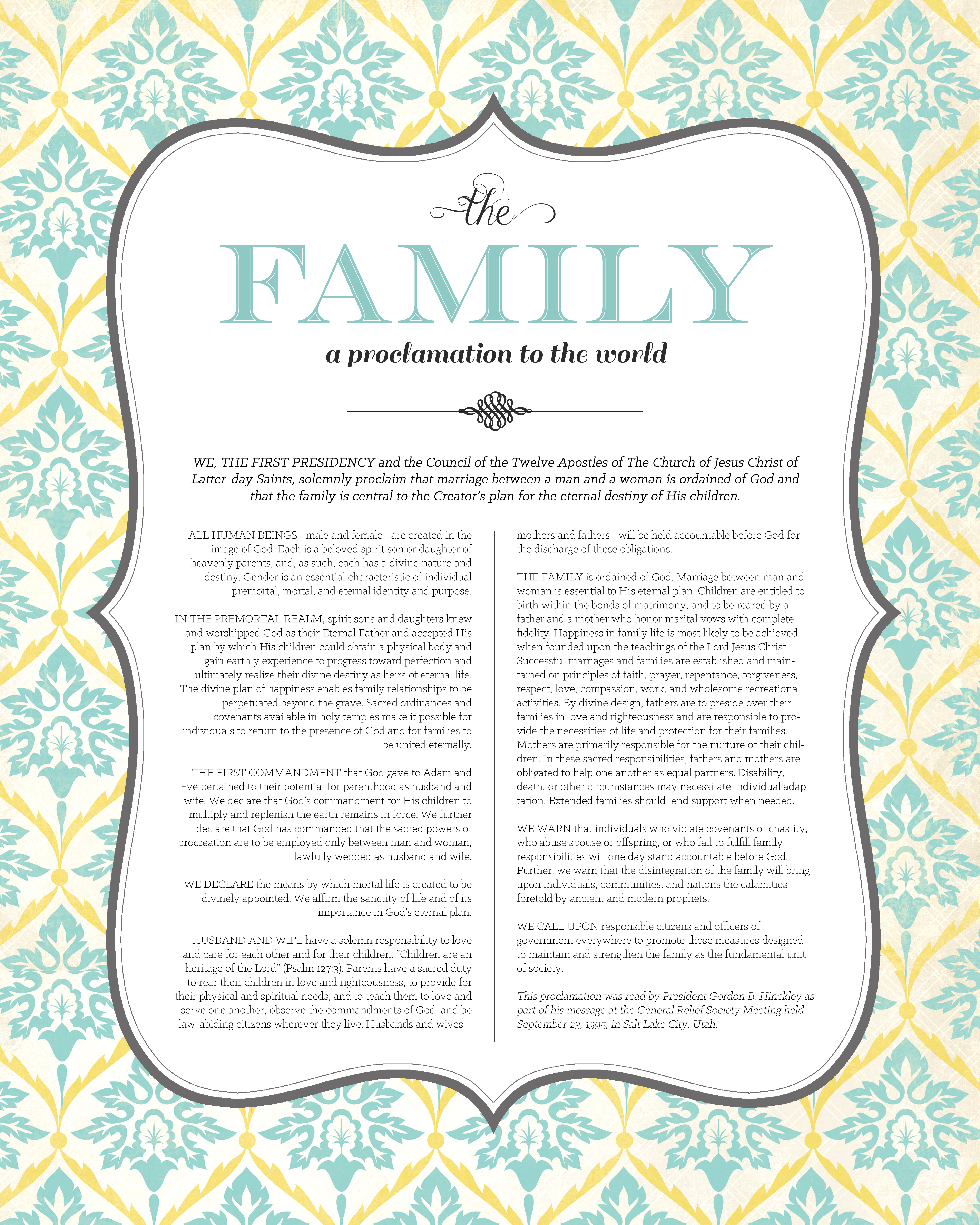 photograph about The Family a Proclamation to the World Printable called The Loved ones: A Proclamation toward the Worldwide\