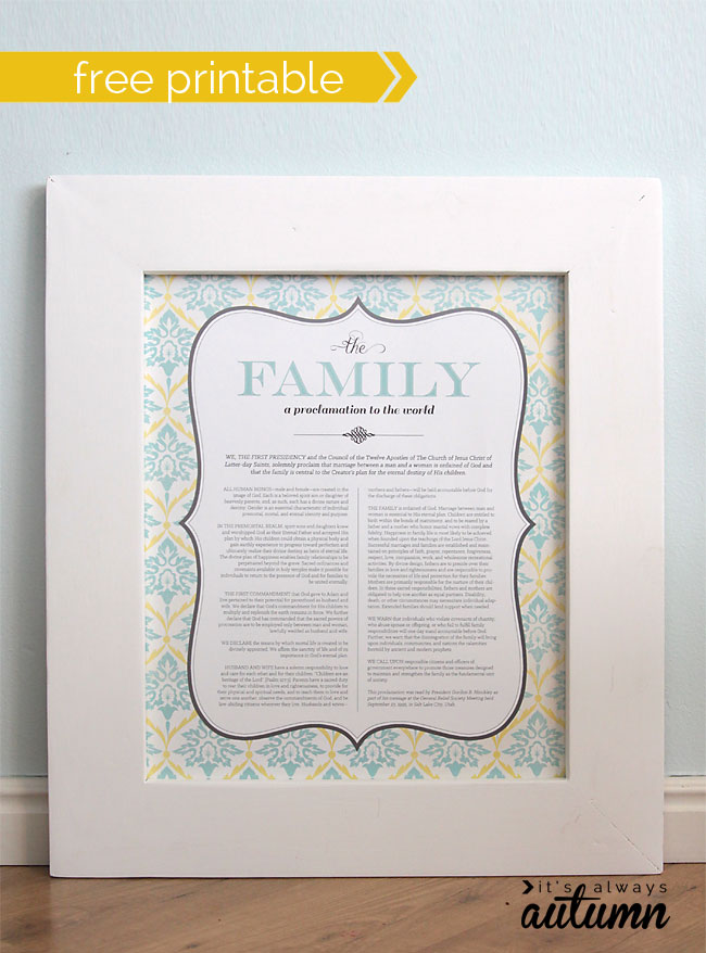 Adaptable image with the family a proclamation to the world free printable