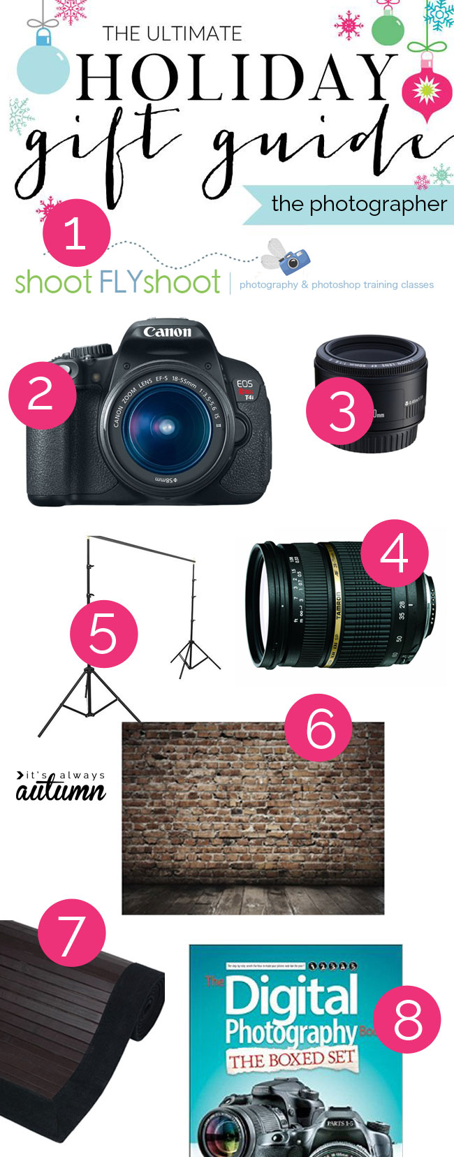 great gift guide for the aspiring photographer plus a photography lover's giveaway! I'm putting some of these gift ideas on my Christmas list.