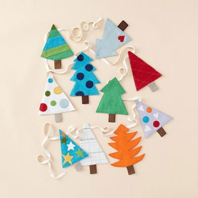 easy diy felt christmas tree garland simple holiday decor On garland christmas tree craft