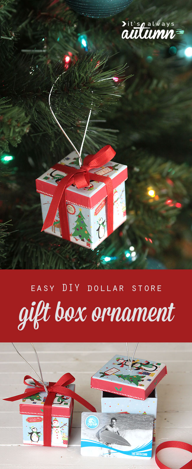 cute idea easy diy christmas tree ornament thats a gift box perfect for gift