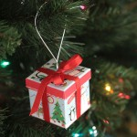 easy DIY gift box Christmas ornaments {from the dollar store}