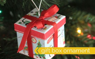 cute idea! easy DIY Christmas tree ornament that's a gift box - perfect for gift cards, jewelry, movie tickets, notes & more - and the boxes are from the dollar store!