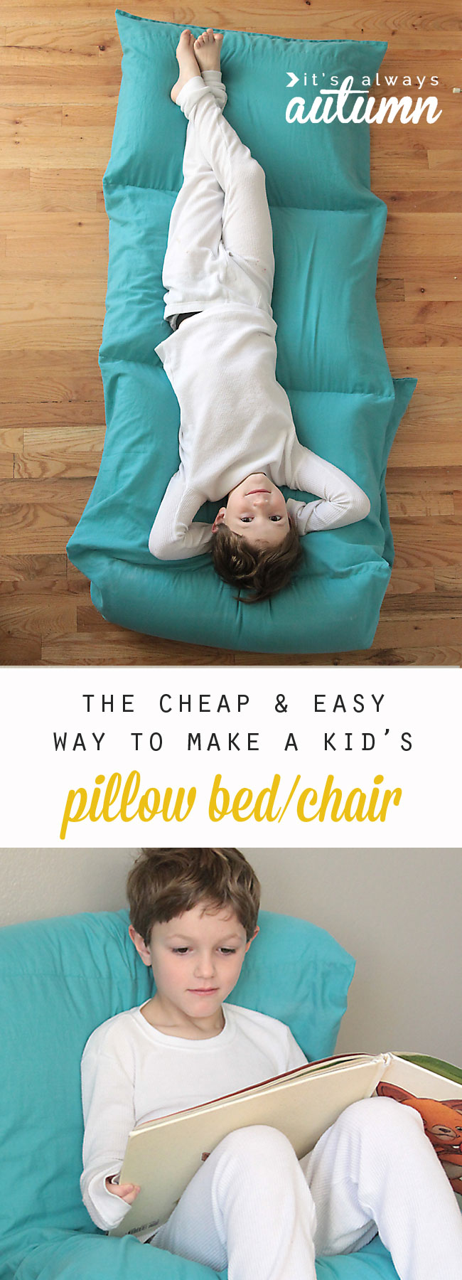 How to make a kids 39 pillow bed the easiest cheapest way for Cheapest way to build a building