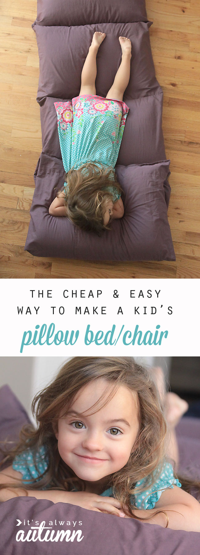 how to make a kids' pillow bed {the easiest & cheapest way} - it's
