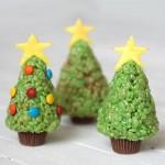 easy rice krispie treat Christmas trees