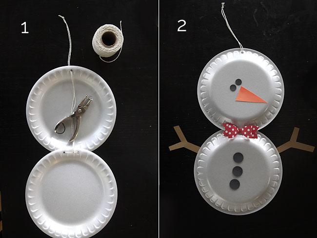 easy holiday kids' craft - foam plate snowmen.