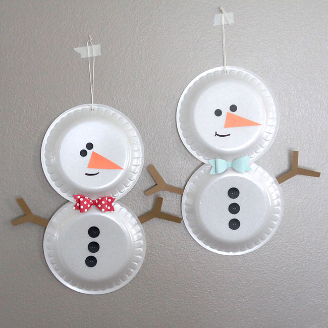Craft Ideas For Kids With Paper Plates Part - 34: Easy Holiday Kidsu0027 Craft - Foam Plate Snowmen.