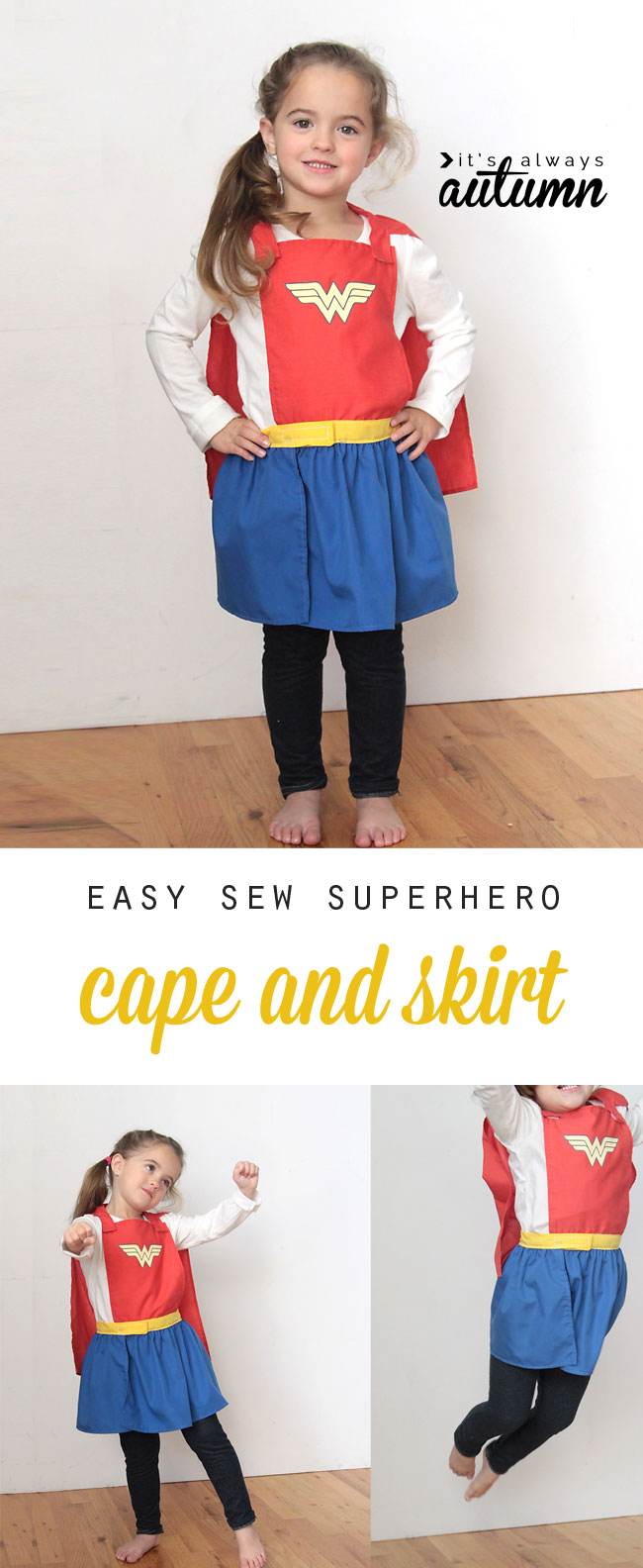 awesome superhero cape and skirt for girls! great gift to sew. free pattern & tutorial included in post!