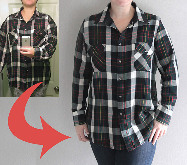 A woman wearing a shirt that has been taken in to fit better