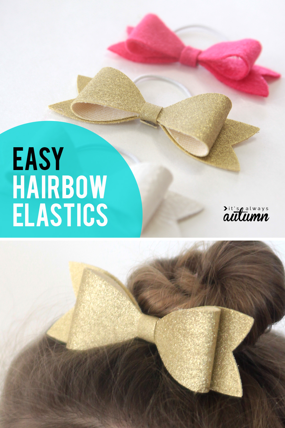 Easy DIY hairbow elastics. These cute hairbows are easy to make and look darling!
