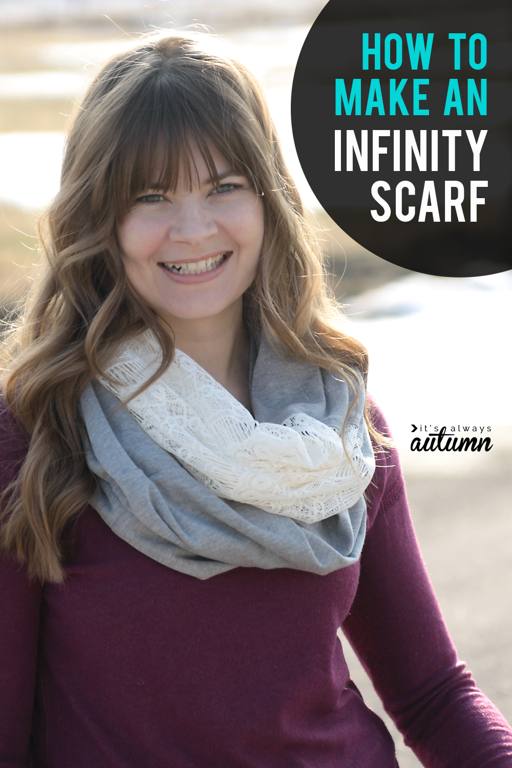 How to make a knit and lace infinity scarf. Click through for the easy sewing tutorial. Makes a great DIY gift!