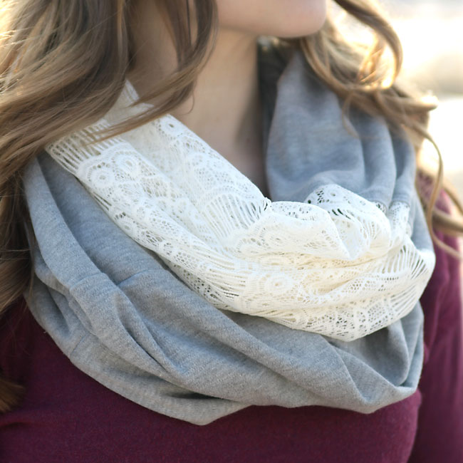 how to make a diy lace knit infinity scarf sewing tutorial