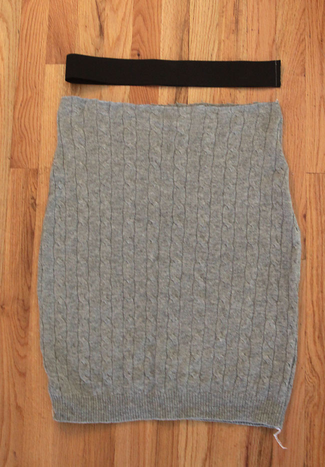 easy cable knit pencil skirt made from a sweater it s