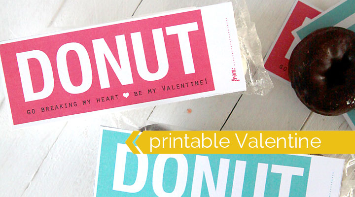 donuts Valentine's Day card – free printable