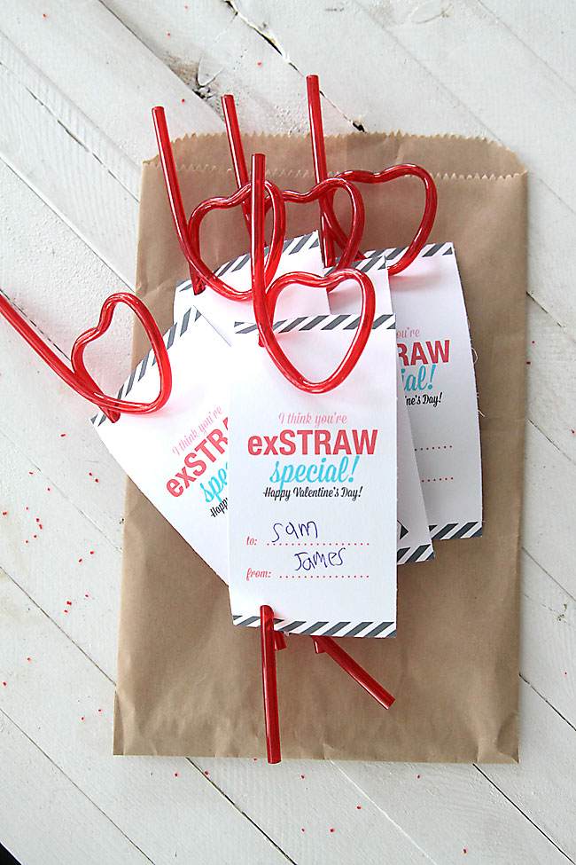 cute, cheap, Valentine's Day card printable using straws from the dollar store!