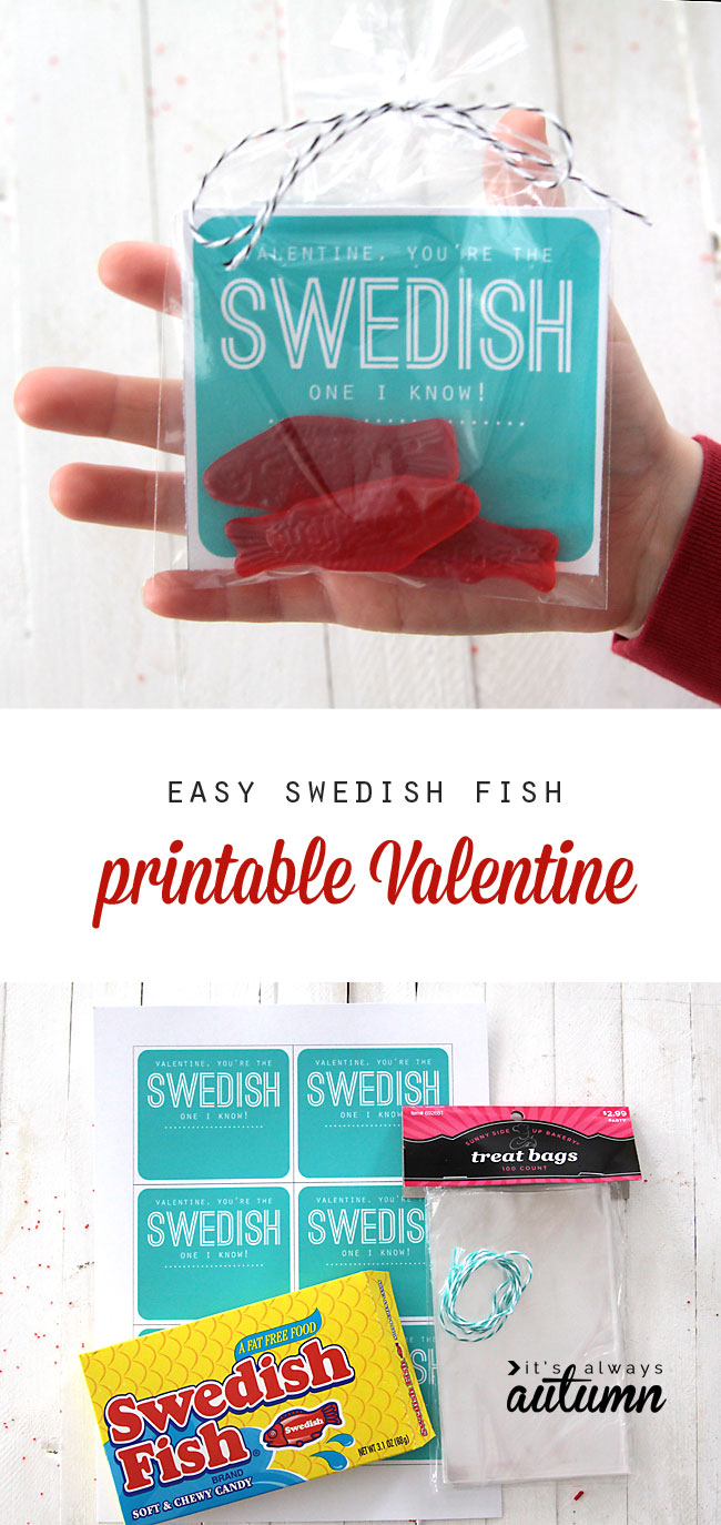 easy Swedish fish printable Valentines Day card Its Always Autumn – Cheap Valentines Card
