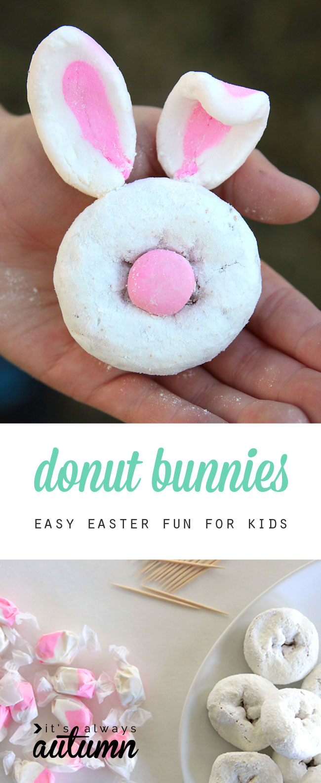 Mini Donut Bunny Rabbits Easy Easter Craft For Kids It S Always