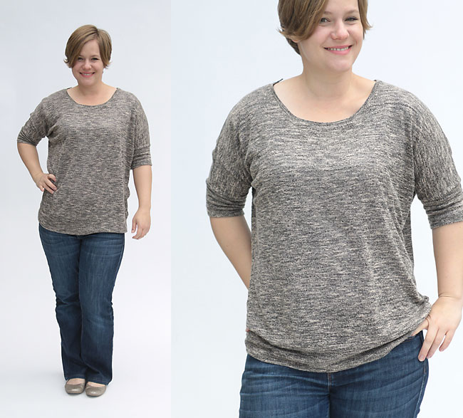 Slouchy batwing top pattern in size large with elbow length sleeves. This style looks great on all body types!