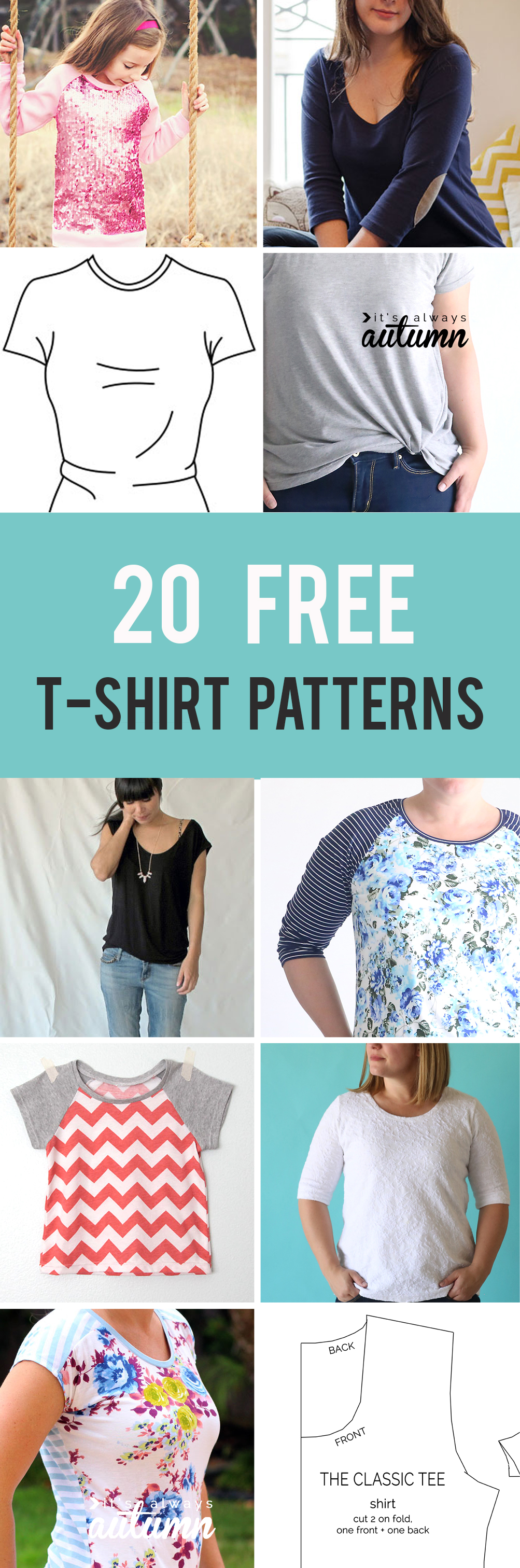 df4edd96 20 free t-shirt patterns you can print + sew at home - It's Always ...