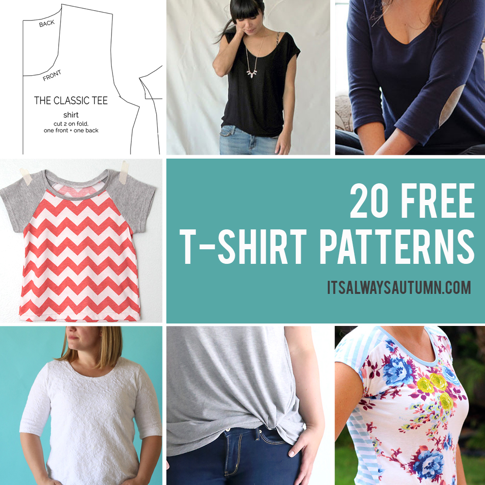 20 Free T Shirt Patterns You Can Print Sew At Home It S Always