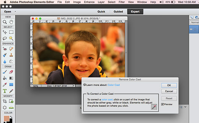 how to remove a yellow color cast in photoshop elements - easy photo edit