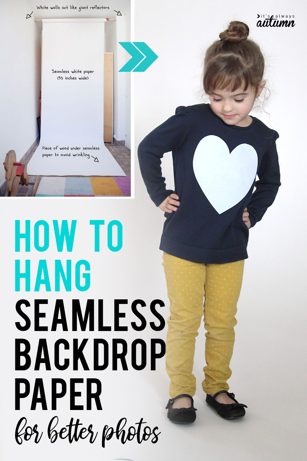 How to hang a seamless paper backdrop for beautiful, studio like photos at home.