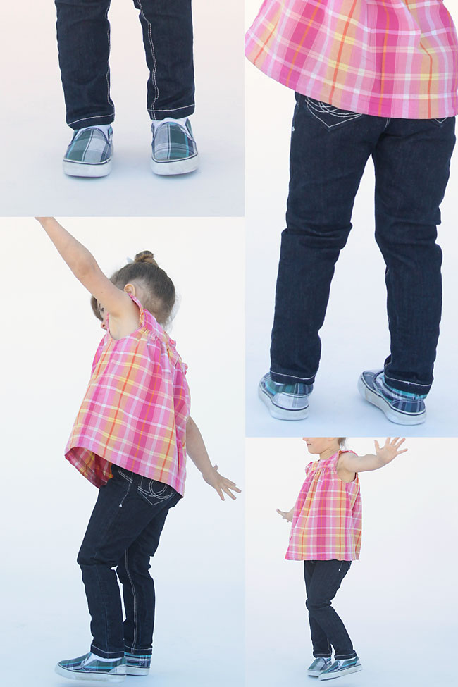 Easy to follow sewing tutorial teaches you how to make skinny jeans for a  little girl - How To Sew Girls' Skinny Jeans From A Leggings Pattern - It's