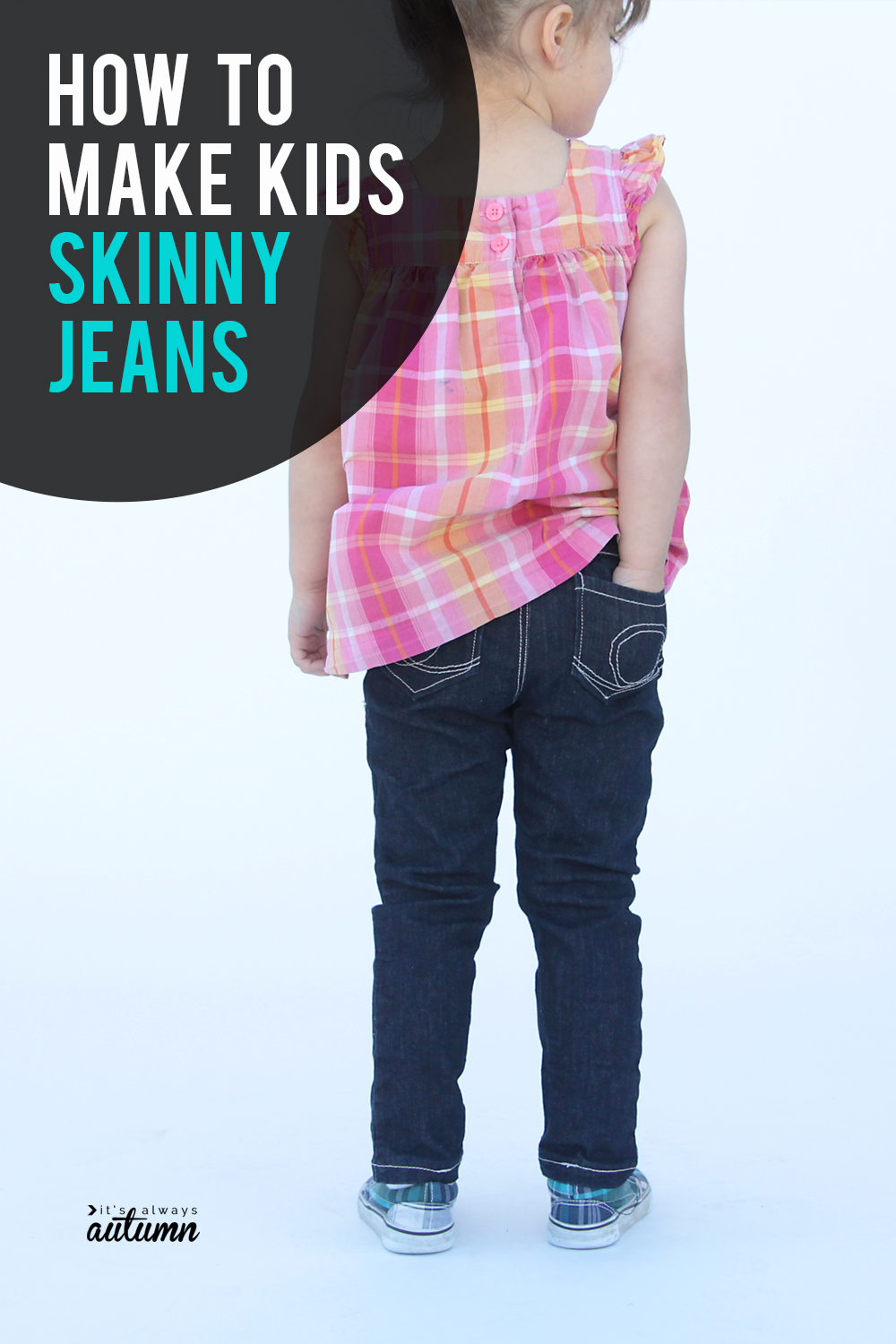Learn how to make skinny jeans for a little girl using a leggings pattern.