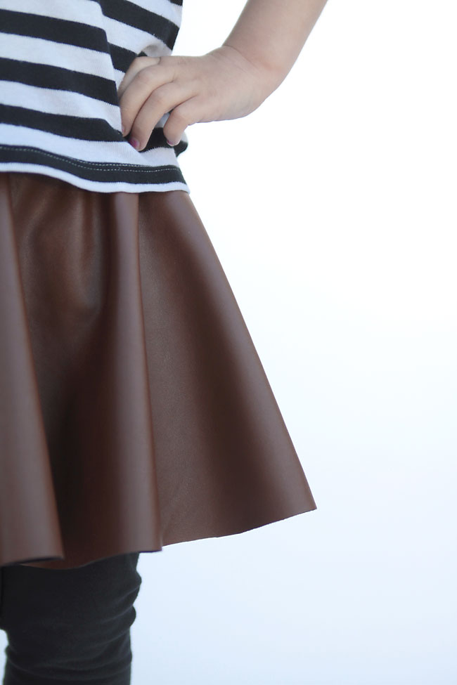 you can sew this adorable skirt in 20 minutes or less - no joke! vegan leather circle skirt for girls.