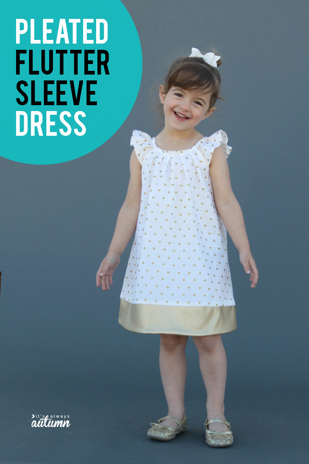 Click through for the sewing pattern for this cute girls pleated flutter sleeve dress in size 4T.