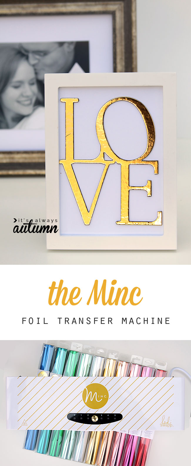 so cool! the new minc foil transfer machine can add colored or gold foil to anything printed with a laser printer. Click through for a video showing how easy it is to use!