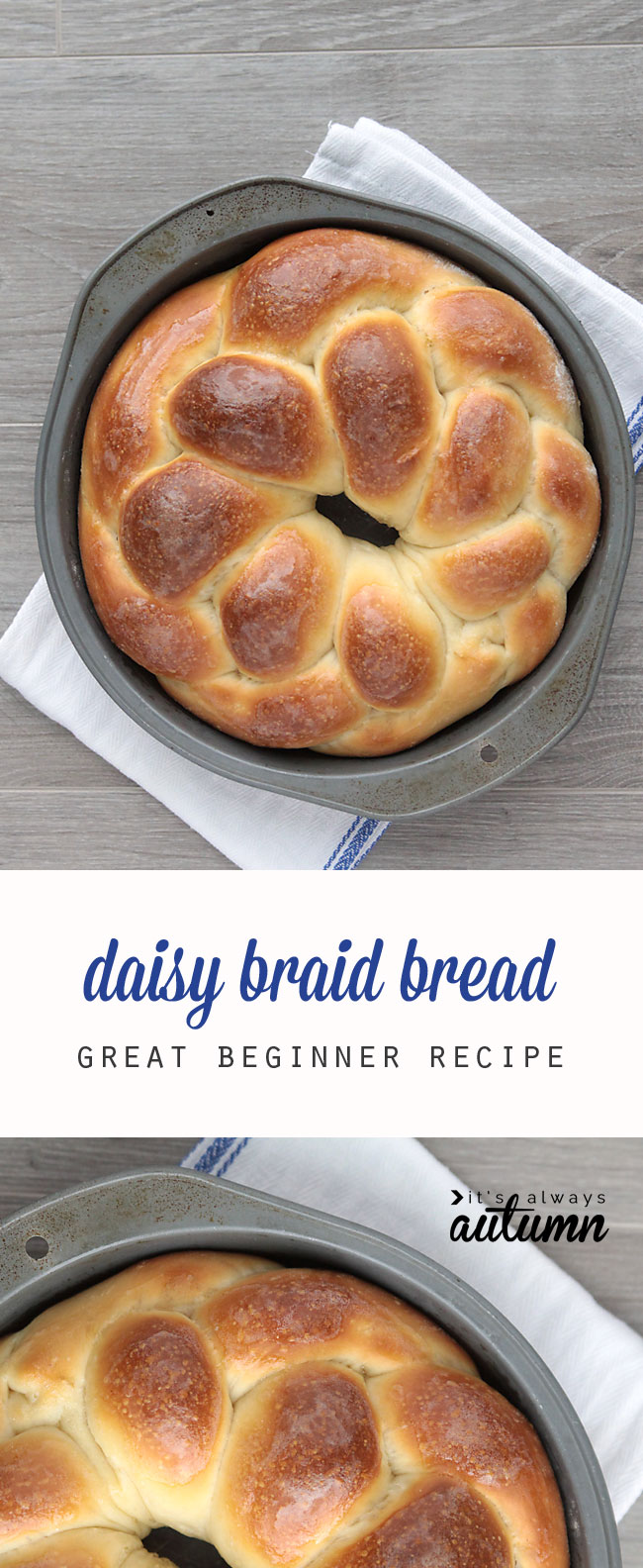 This gorgeous braided bread recipe is easy to make and perfect for beginners. It rises in the fridge so you can make it ahead and bake whenever you want. Great recipe for gifting!