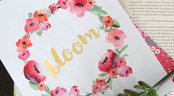 free watercolor printable + Minc gold foil
