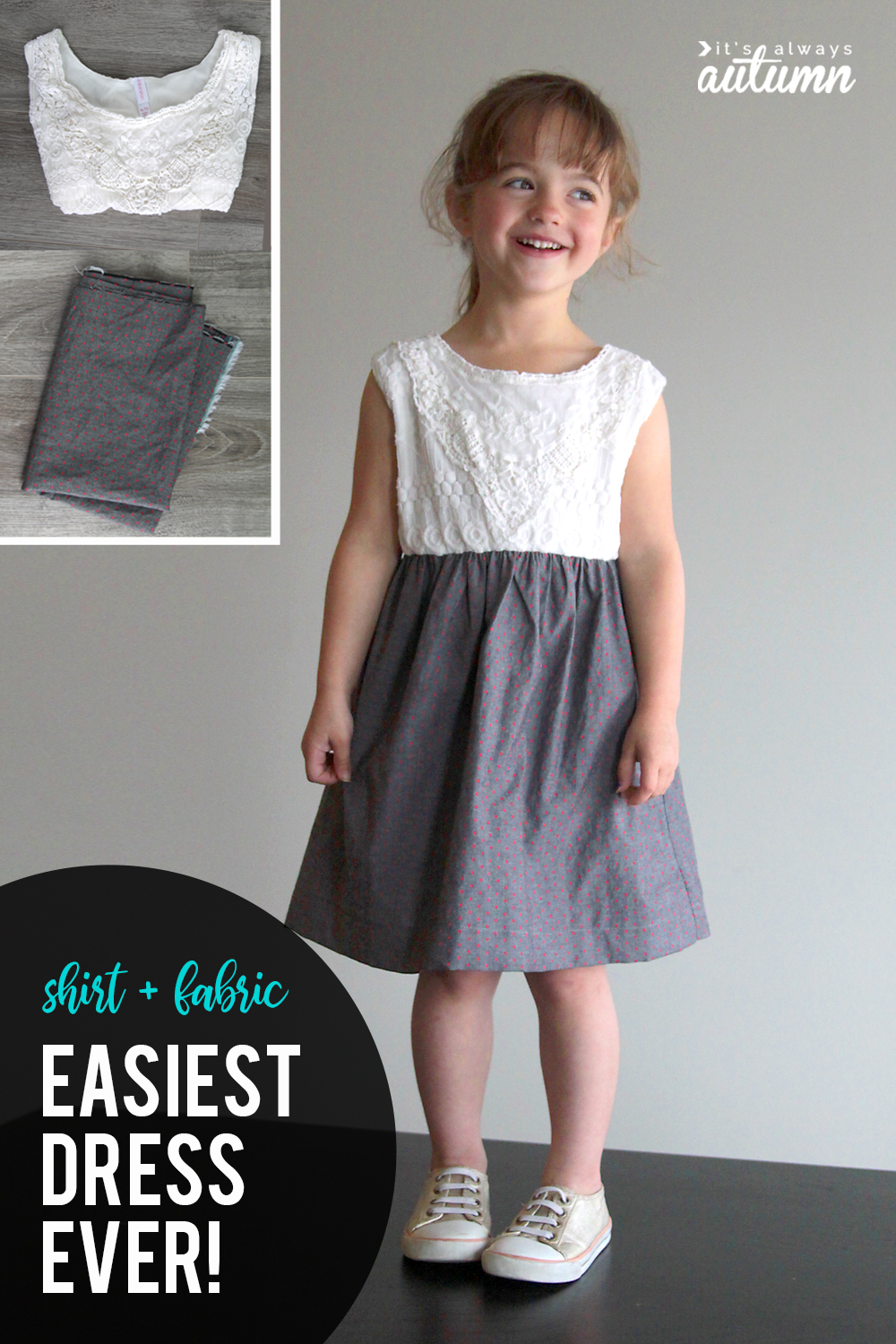 3d49f374b77 Make a super simple girls dress using a shirt and some cute fabric. Easy  sewing
