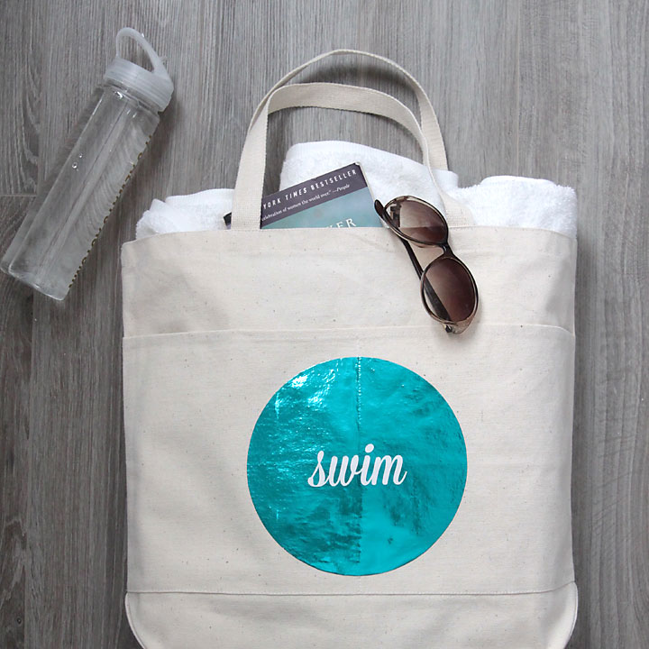 easy DIY modern glam swim tote {with the Minc}