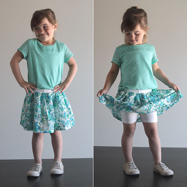 easy to sew skirt with attached shorts