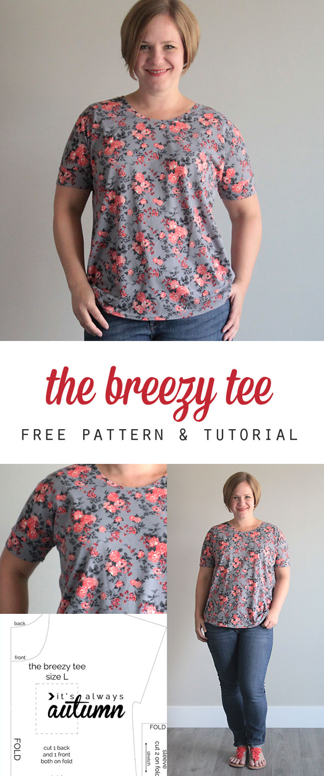 The breezy tee free womens sewing pattern in size l its free womens t shirt sewing pattern this looks so easy i bet i jeuxipadfo Image collections