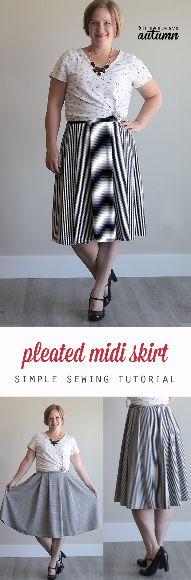 How to make a pleated midi skirt pattern in your size + pleated midi skirt sewing tutorial. This is made with knit fabric and an elastic waistband so it's super quick to make!